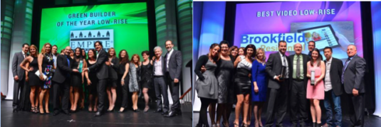 L-R BAM joins Empire Communities on stage at the 34th annual BILD awards; BAM and Brookfield Residential Ontario accept their award.